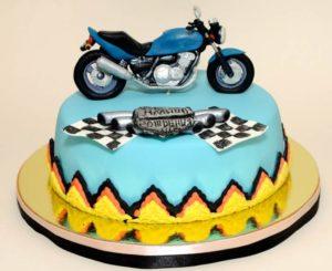 Сине желтый торт с мотоциклом