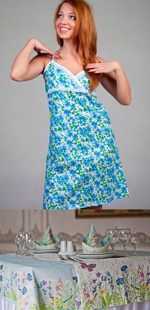 Ситцевое платье и ситцевая скатерть