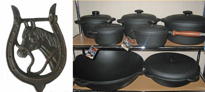 Чугунная посуда и подкова