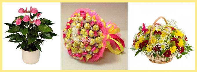 Цветочные и конфетный букет