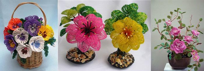 Самодельные цветочные композиции из бисера