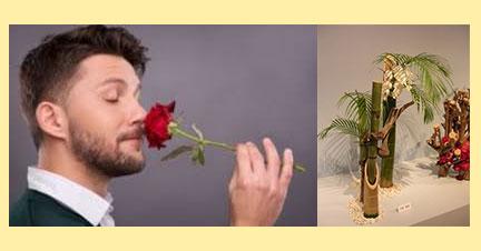 Мужчина с розой и икебана с бамбука