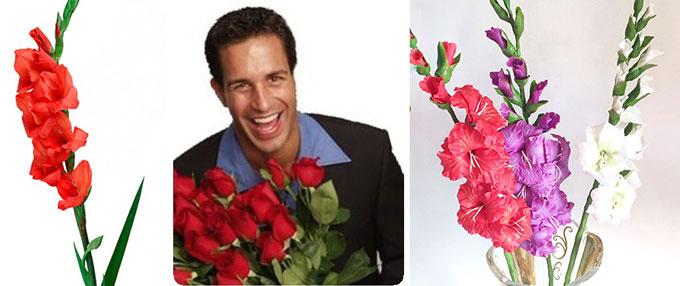 Мужчина с красными розами и гладиолусы