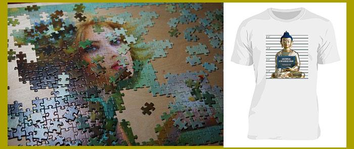 Картина из пазлов и футболка с принтом