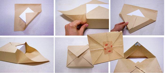 Шаги упаковки подарка конвертом