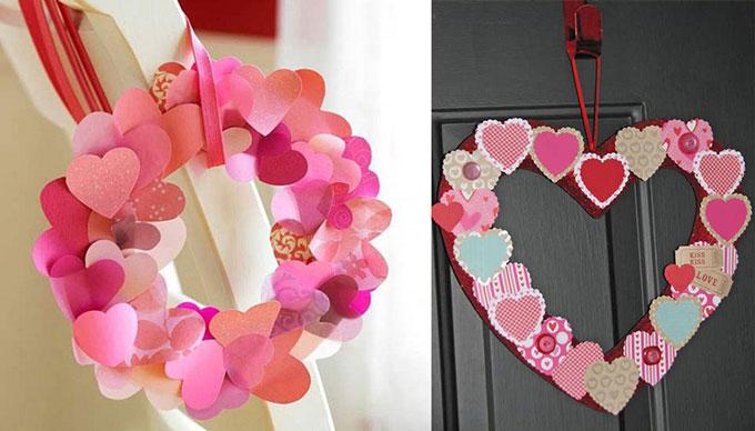 Бумажные валентинки венок
