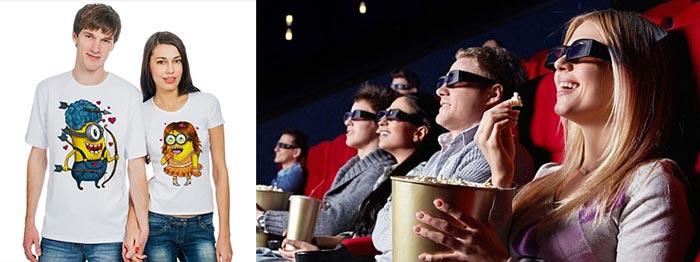 Парные футболки и кинотеатр с молодежью