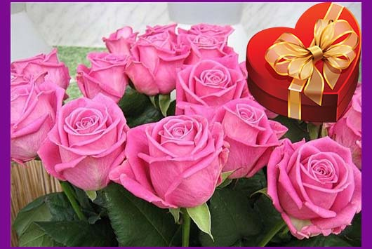 Розовые роозы и подарок