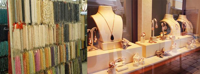 Ветрины ювелирных магазинов с жемчугом