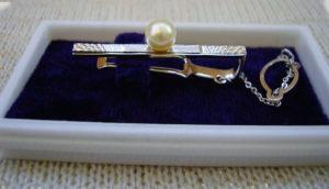 Зажим для галстука с жемчужиной в подарок на годовщину