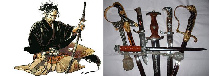 Самурай с мечом, виды мечей и кинжалов