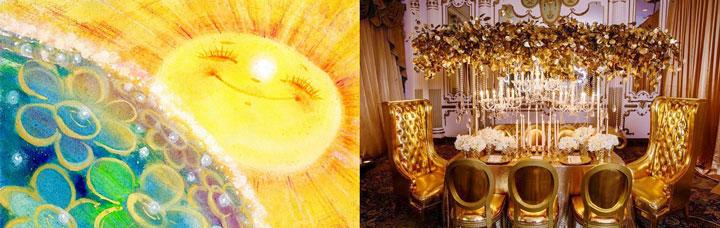 Солнце и цветение, роскошный зал в золотых тонах