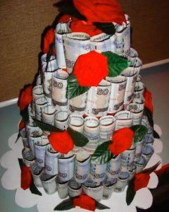 Денежный торт в подарок