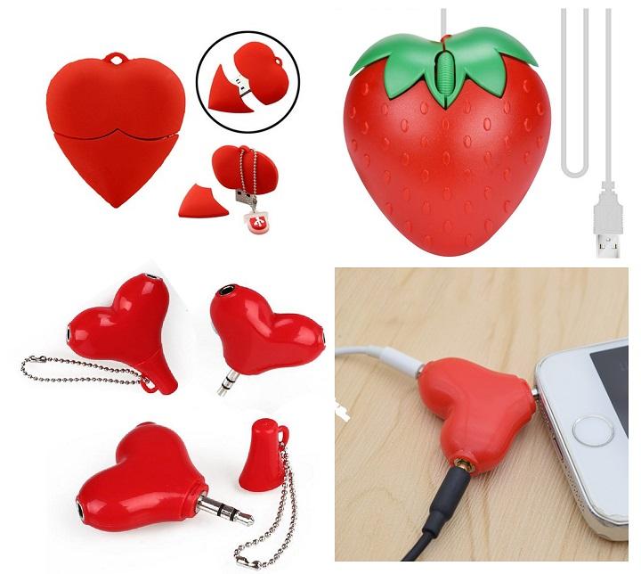 Сердца: мышь, разветвитель, флешка