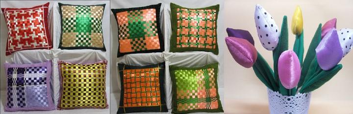 Атласные подушки и цветы