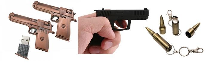 Флешка-пистолет, флешка-пуля