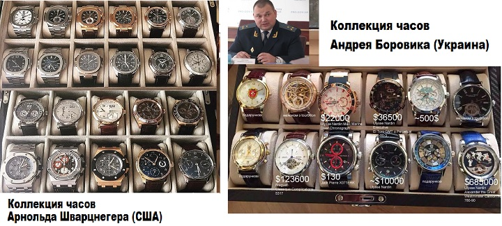 Коллекции часов Шварцнегера и Боровика