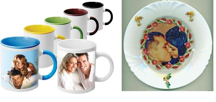 Кружки и тарелка с вашим фото