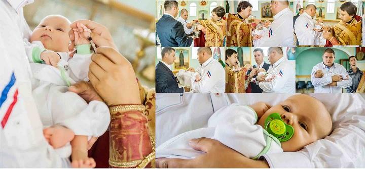 Процесс крестин малыша