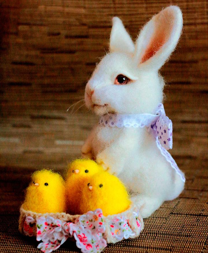 Кролик с цыплятами на Пасху