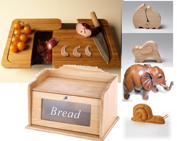 Хлебница, доска и фигурки из дерева