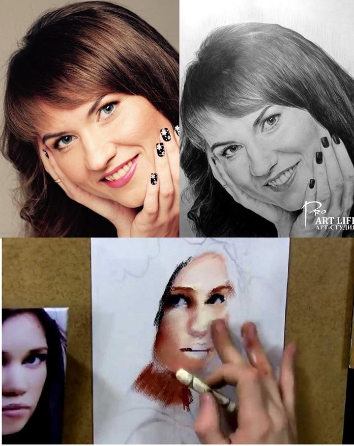 Портреты по фотографии для мамы можно заказывать