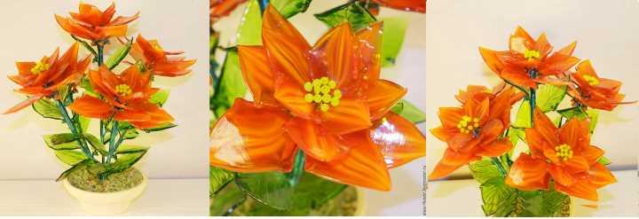 Букет из стеклянных цветов
