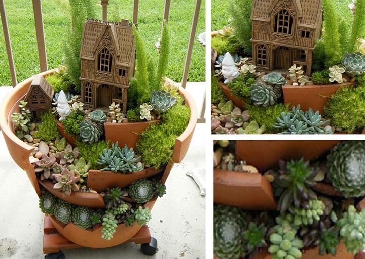 Садовая миниатюра в горшке