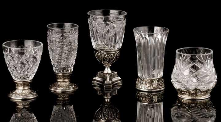 Виды рюмок из хрусталя с серебром