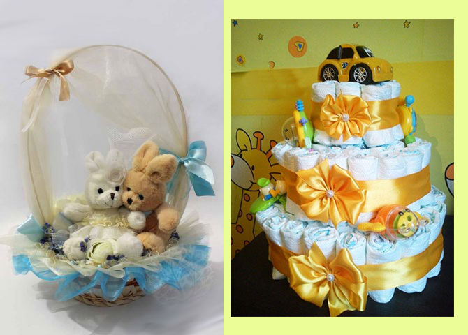 Торт из памперсов и корзина с игрушками