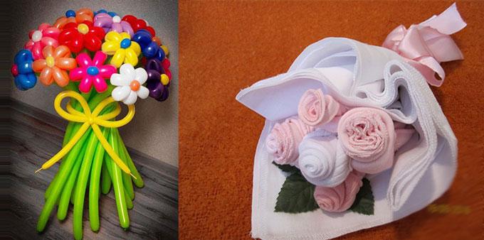 Цветы из шариков и ткани