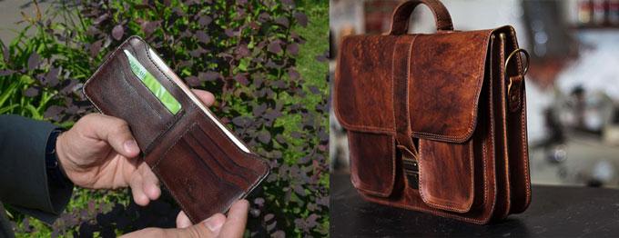 Кожанные портфель и портмоне