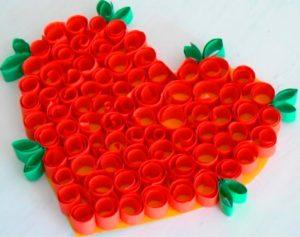 Валентинка, сделанная в технике квилинг
