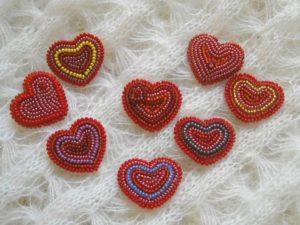 Валентинки из бисера на праздник
