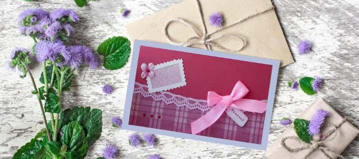 Фиолетовая открытка маме