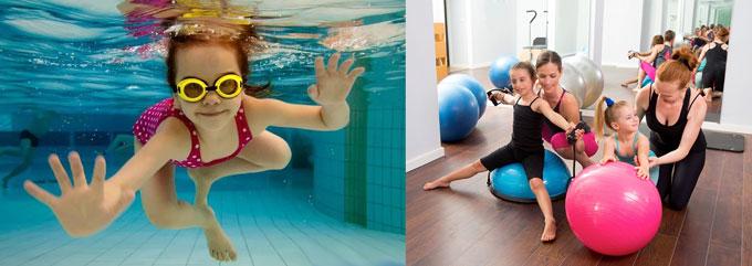 Дети в басене и спортзале