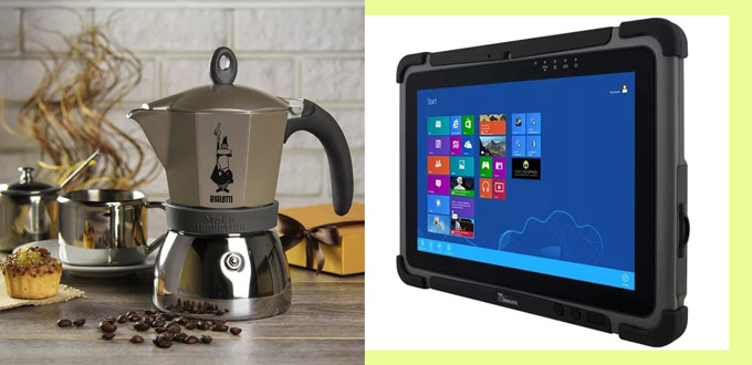 Кофеварка и планшет
