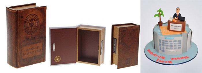 Книга с коробкой и торт для начальницы