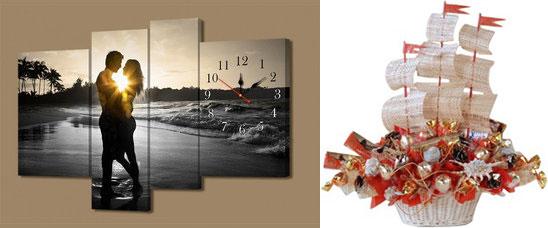 Фотосувенир часы настенные и кораблик из конфет