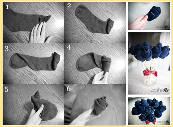 Букет их носков: этапы сборки