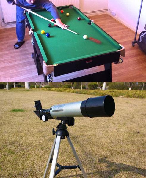Мини-бильярд и телескоп