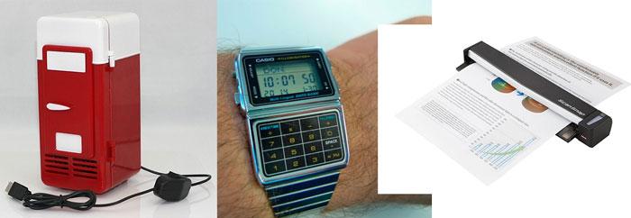 usb холодильник 2 в 1, часы с калькулятором и мини-сканер