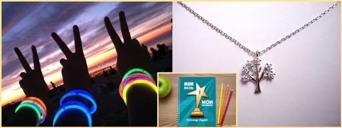Светящиеся браслеты, кулончик на цепочке и фототетрадь мой образ
