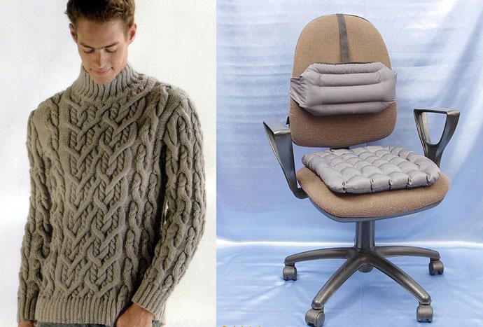 Вязаный мужской свитер и подушка на кресло
