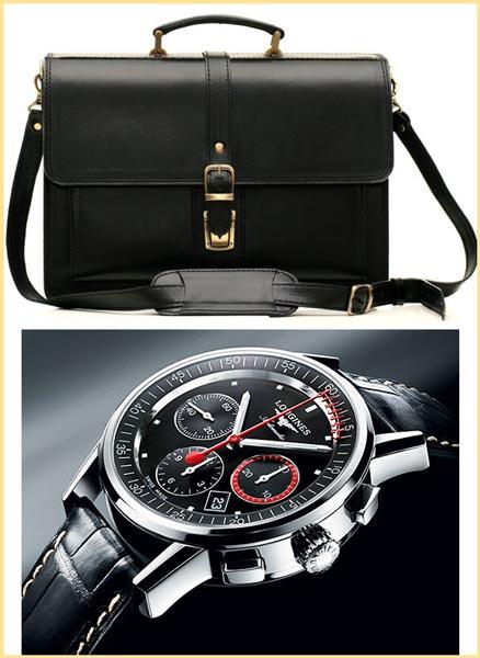 Кожанный портфель и швейцарские часы мужские