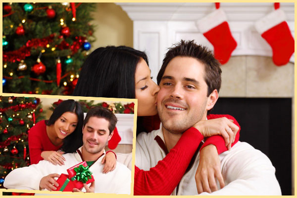 Девушкаа целуюе тпарня и дарит подарок новогодний