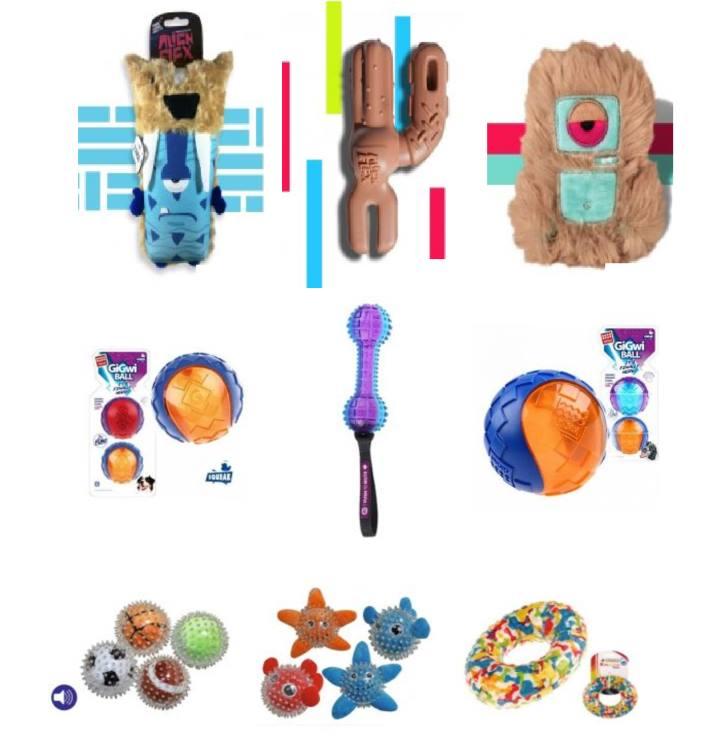 Различные игрушки для игры с собакой