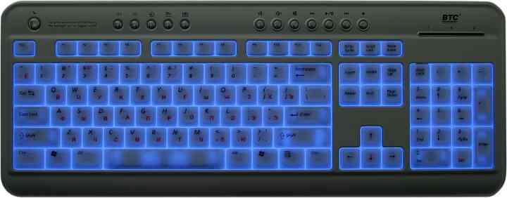 Синяя подсветка в клавиатуре