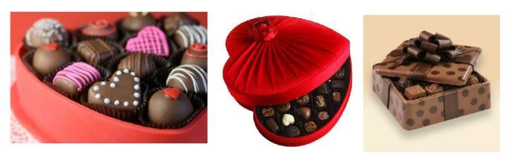 Шоколадные конфеты в коробках