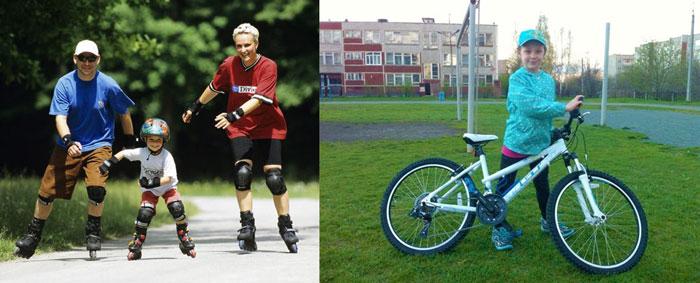 Семья на роликам и мальчик с велосипедом